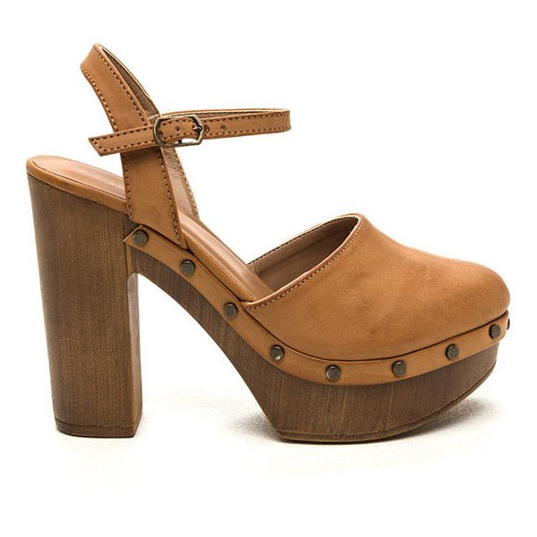 Cobblestone Road Faux Leather Clogs TAN ($22) ❤ liked on Polyvore featuring shoes, clogs, tan, high heel shoes, slingback clogs, sling back shoes, vegan clogs and platform shoes