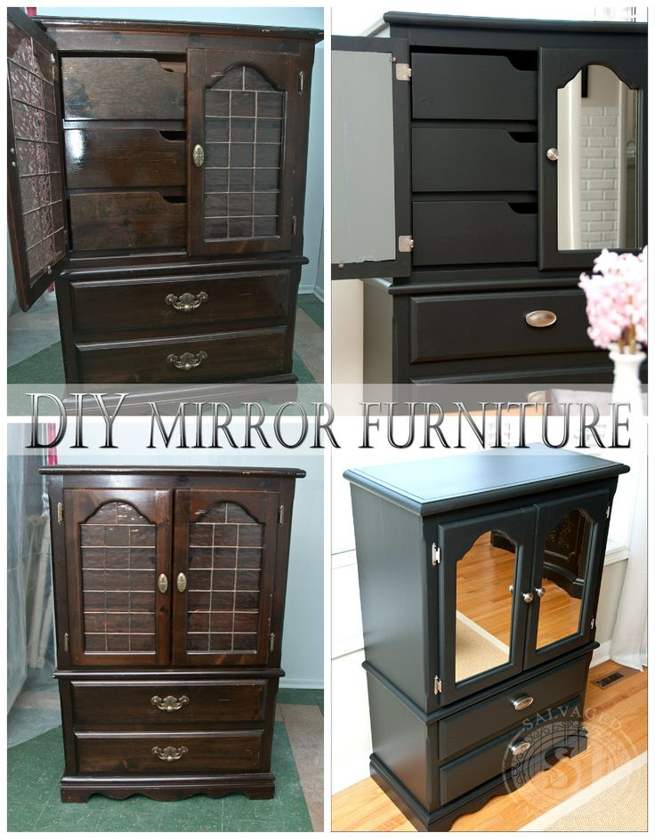 DIY Mirrored Furniture. This is a really inexpensive way to update outdated  furniture by adding