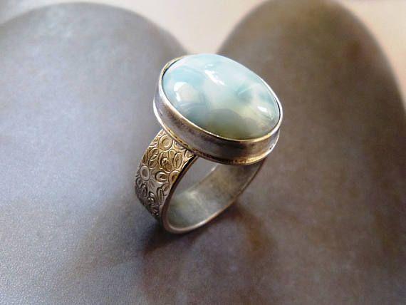 Larimar silver ring handmade metalwork ring natural jewelry