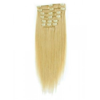 18 inches Golden Blonde(#16) 7 pieces Clip In Synthetic Hair Extension