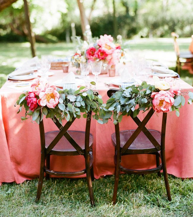 peony garland chair decor