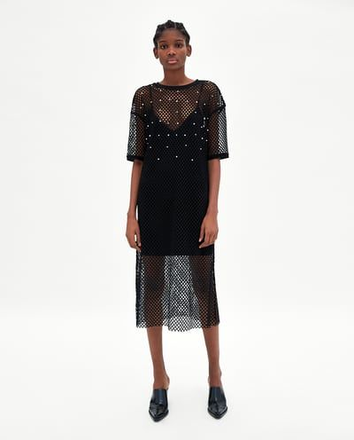 FISHNET DRESS WITH PEARL BEADS-View all-DRESSES-WOMAN | ZARA Spain