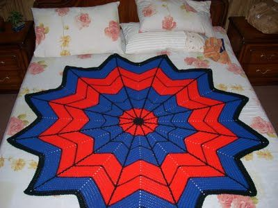 Spiderman Blanket Knitting Pattern : Spiderman Afghan crochet pattern. This would make an awesome gift for a baby ...