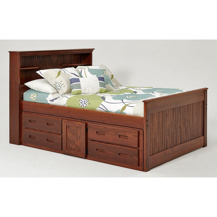 Wood bed frame full size headboard footboard with storage Full size storage bed