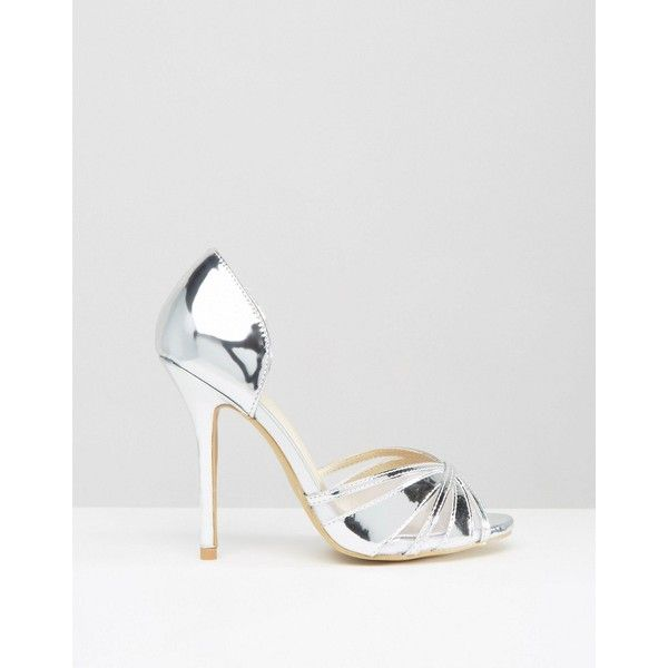 True Decadence Silver Metallic Heeled Peep Toe Sandals (€15) via Polyvore featuring shoes, sandals, peeptoe shoes, peep toe shoes, metallic high heel sandals, peep toe sandals and high heel shoes