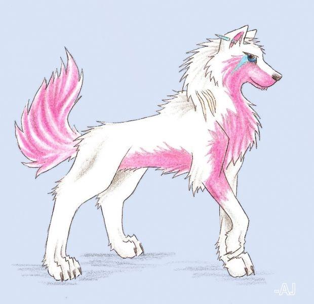 pink anime wolf