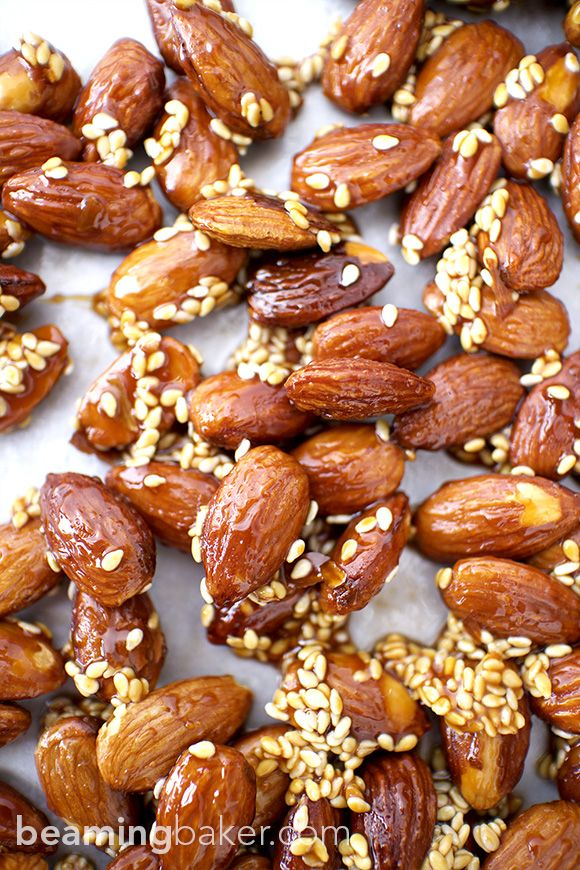 Sweet and smoky skillet-roasted almonds glazed with a coat of honey and satisfying sesame seeds. Honey Sesame Almonds are the new go-to snack. BEAMINGBAKER.COM