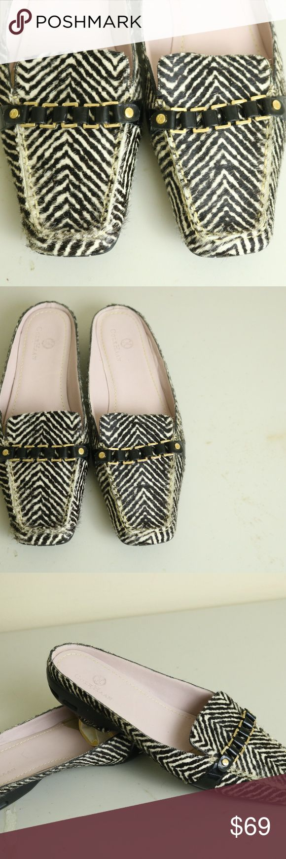 COLE HAAN CALF HAIR ZEBRA SOMEN'S SIZE 8.5 ITEM IS A PAIR OF PRE OWNED COLE HAAN NIKE AIR WOMES CASUAL CALF HAIR ZEBRA PRINT SLIPPERS IN A SIZE 8.5  ITEM IS IN GOOD USED CONDITION Cole Haan Shoes Slippers