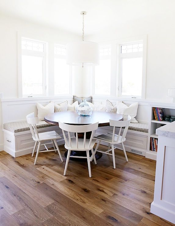 round dining room table with built in seating - Google Search