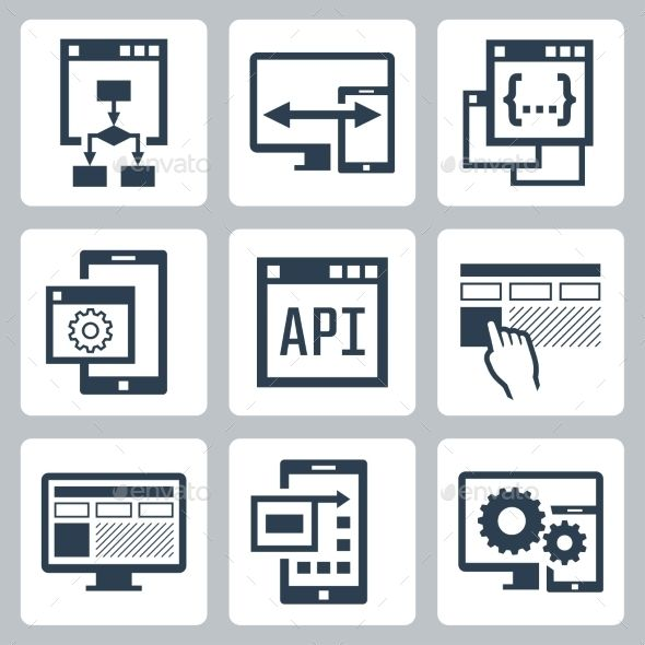 Application Programming Interface Icon Set — Photoshop PSD #phone #vector • Available here → https://graphicriver.net/item/application-programming-interface-icon-set/11687228?ref=pxcr
