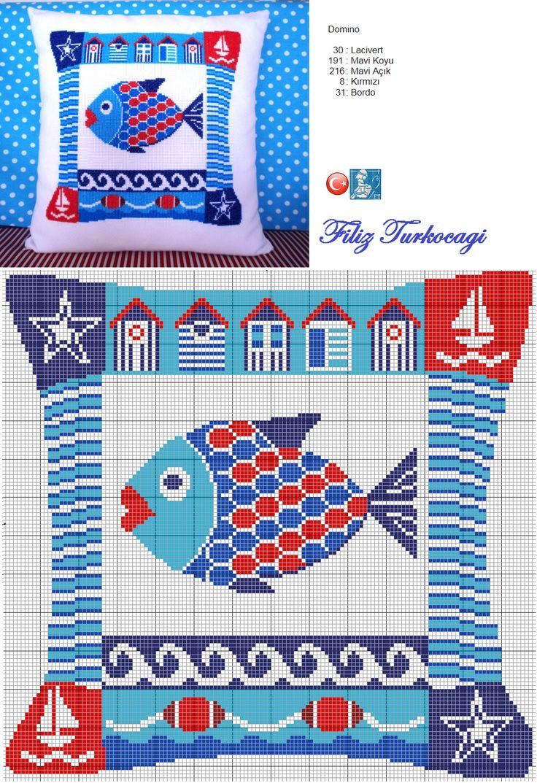Serinin son parçası da, balıklı :) Designed and stitched by Filiz Türkocağı...( Summer cushion-3)
