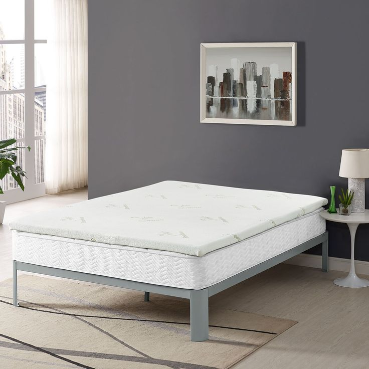 """Relax Queen 2"""" Gel Memory Foam Mattress Topper, White - Welcome extra support with the Relax 2"""" Gel-Infused Memory Foam Topper in Queen. Relax positions underneath most queen-size fitted sheets and features ventilated open-cell technology with gel-infusion to help keep your body climate-steady by dissipating body heat. Designed to relieve stress on pressure points, Relax comes CertiPUR-US(R) certified so you can be confident that the memory foam inside the topper was independently laboratory…"""