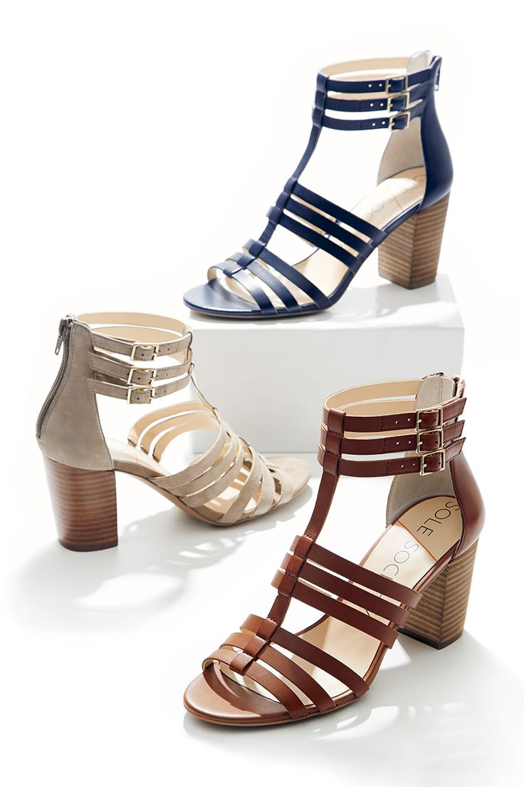 Flattering gladiator sandals with comfortable stacked heels, available in rich leather & soft suede. Prepare for endless outfit options come spring & summer!