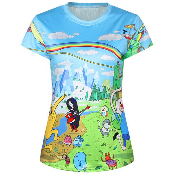 Blue Cute Ladies Crew Neck Cartoon Adventure Time Printed T-shirt ($19) ❤ liked on Polyvore featuring tops, t-shirts, shirts, blue, comic tees, crew neck tee, blue tee, blue shirt and cartoon character t shirts
