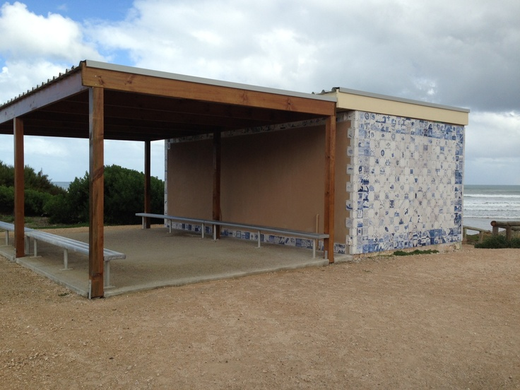 The competed reno of the public toilet at Middleton Beach. Tiled in original designs created by local students.