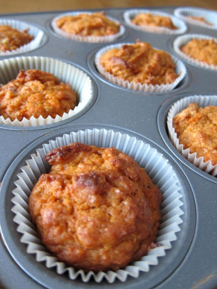 These have 2 cups of mashed sweet potatoes and 1/2 cup applesauce in them. I would make these as written the first time and see if sugar could be reduced from 1 1/2 cups.