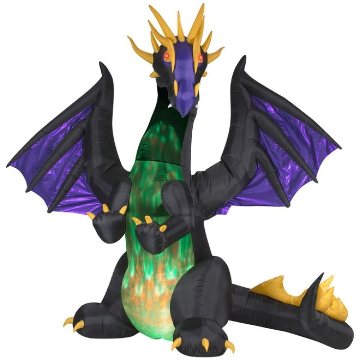 halloween inflatable led lighted giant animated purple dragon with green projection chest gemmy outdoor yarde prop decoration