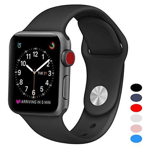 Sport Band for Apple Watch 42mm BANDEX Soft Silicone Strap Replacement Wristbands for Apple Watch Sport Series 3 Series 2 Series 1(Black M/L)