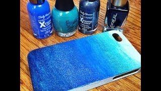 Marbled blue phone case design DIY