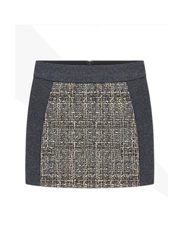 gray high waist zipper package hip short skirt -