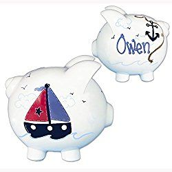 Hand Painted Personalized Sailboat Piggy Bank