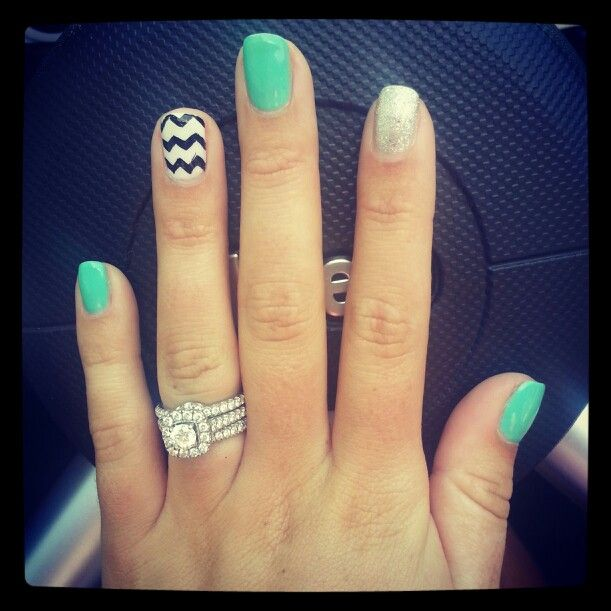 Love my Neil lane wedding ring! Chevron nails, perfect!