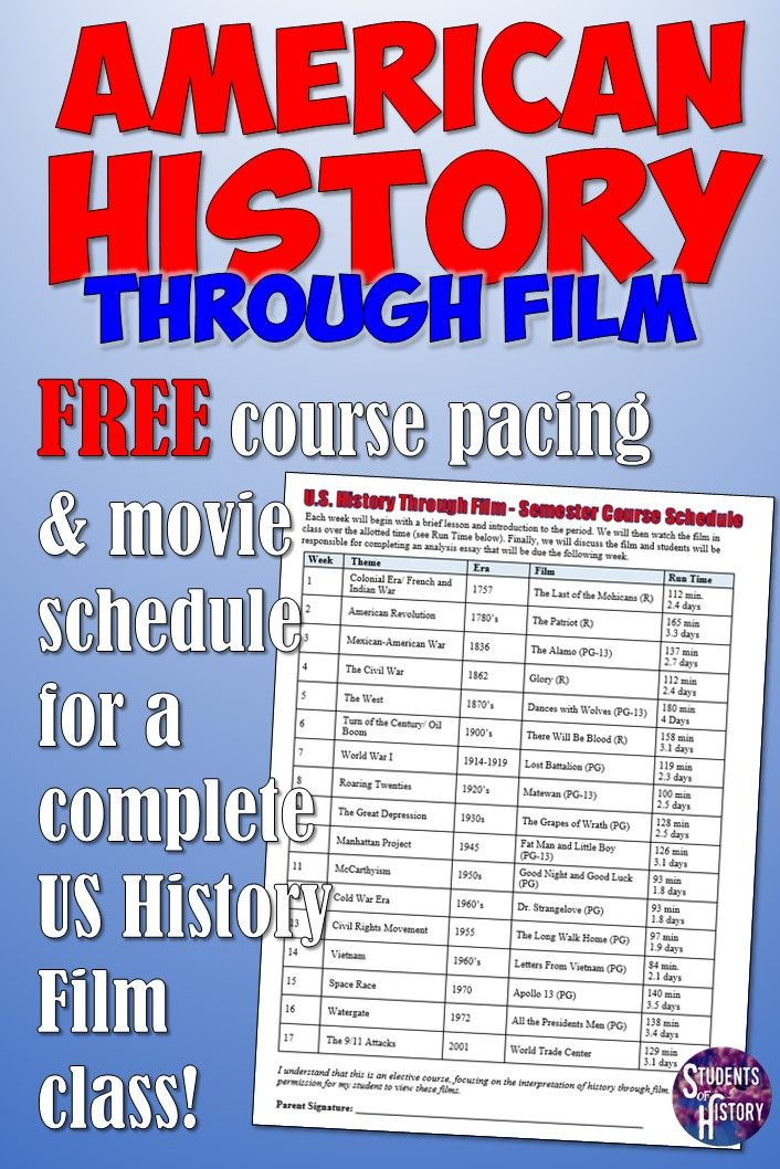 Teach US History with movies! Download this free course and pacing guide for the best movies to use in an American History Through Film course and cover the 1700's through 9/11 in one semester!