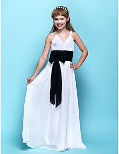 Lanting+Bride®+Floor-length+Chiffon+Junior+Bridesmaid+Dress+Sheath+/+Column+V-neck+Empire+with+Sash+/+Ribbon+/+Criss+Cross+/+Ruching+–+USD+$+175.00