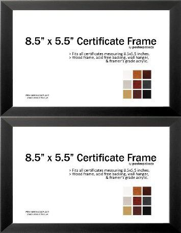 85 X 55 Certificate Frame Wood Frame Holds Any Document