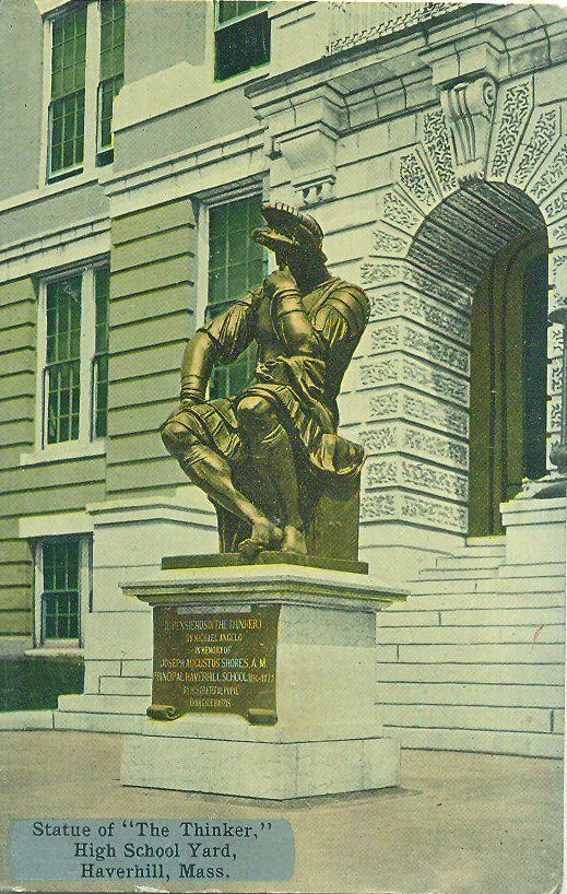 """Statue of """"The Thinker"""" outside the (now former) Haverhill High School."""