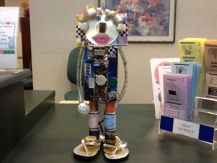 Robot made from books for the Danville public library on sept 30