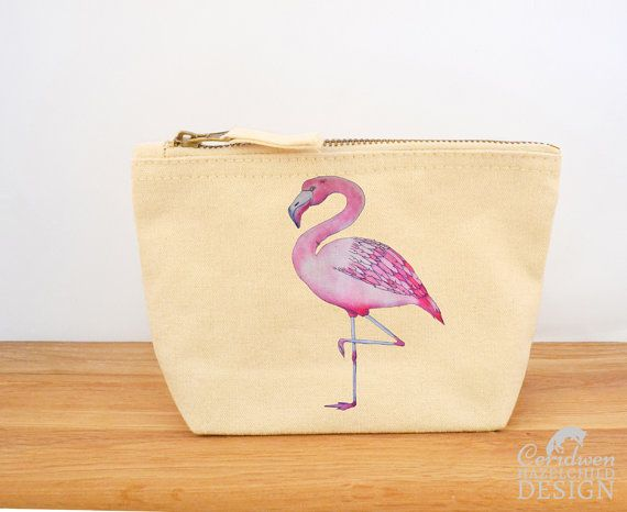 Flamingo Canvas Zip Purse Makeup Bag Coin Purse Small Accessory Pouch by ceridwenDESIGN http://ift.tt/1oiwvcA