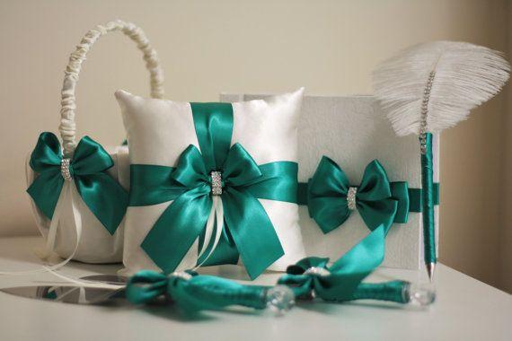 Green Flower Girl Basket Emerald Wedding Basket by AlexEmotions