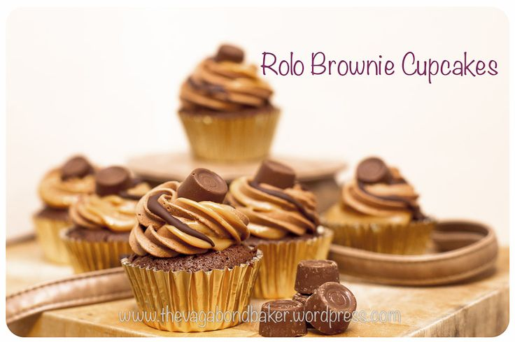Rolo Brownie Cupcakes. Made these and they were delish. I only did chocolate buttercream, and as my supermarket didn't have tinned caramel, I used caramel chips which worked well. They are definitely a cake to have with a cuppa. Quite rich, I only managed one!