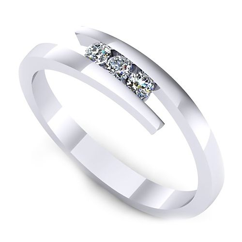 Inelul este realizat din aur alb 14k, greutate: ~2.10gr.                                     Produsul are in componenta sa: 3 x diamant, dimensiune: ~2.00mm, greutate totala: ~0.09ct, culoare: G, claritate: VS2, forma: round