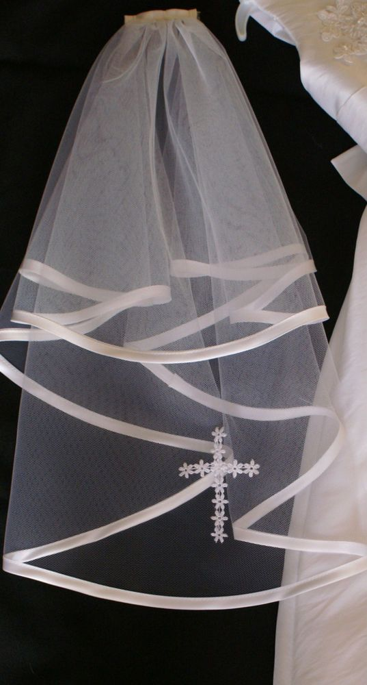 First HOLY COMMUNION VEIL ,SATIN EDGE WITH LACECROSS/ WHITE OR IVORY made in UK | Clothes, Shoes & Accessories, Wedding & Formal Occasion, Bridal Accessories | eBay!