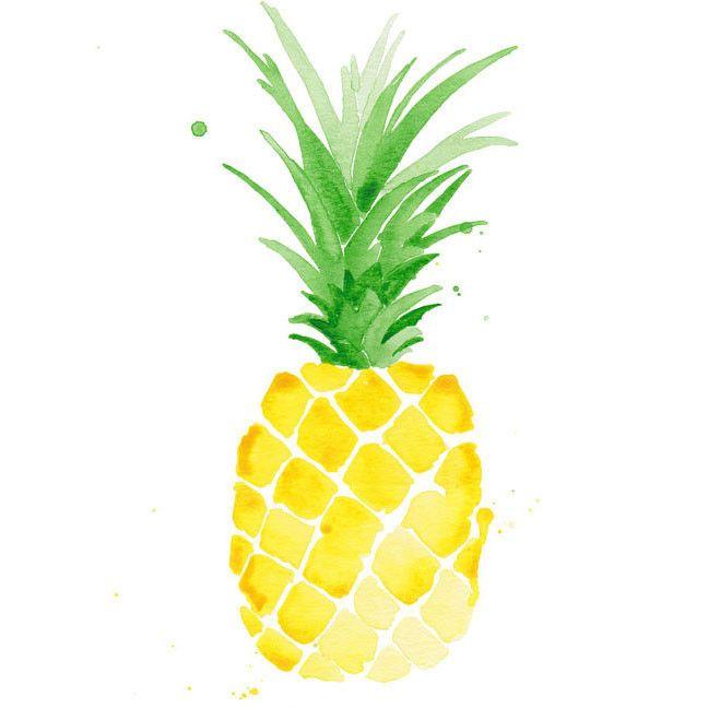 Pina Pineapple Watercolor Print