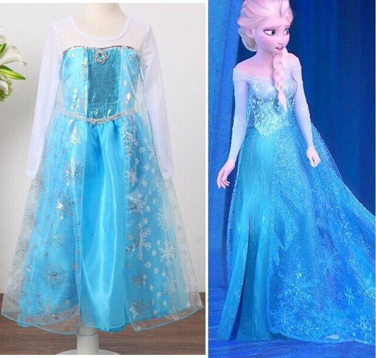 Girls Elsa Costume Princess Anna Party Tulle Dresses 3-8 ...