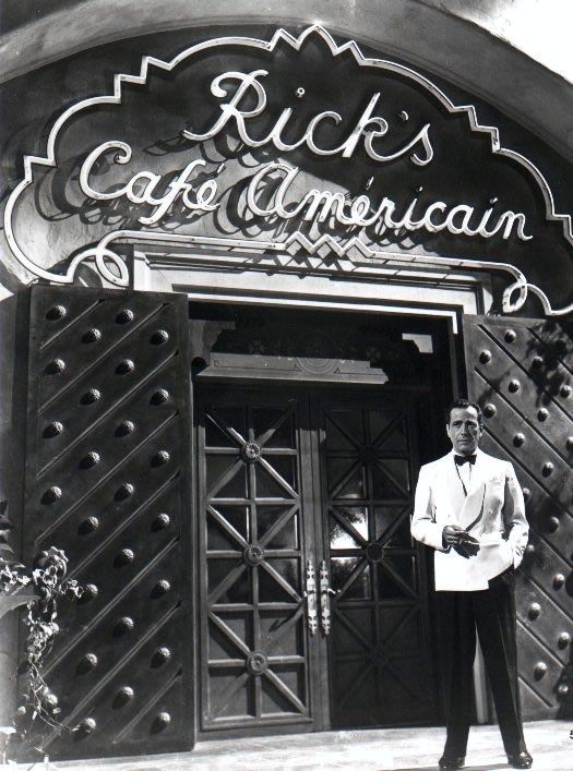 "Humphrey Bogart as Rick Blaine in front of Rick's Cafe Americain from ""Casablanca"" (1942)"