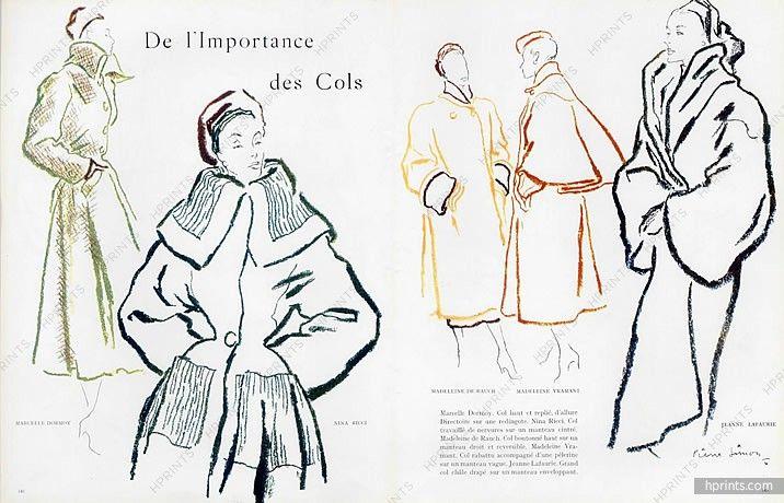 Pierre Simon 1947 Collar, Coats, Marcelle Dormoy, Nina Ricci... Madeleine De Rauch, Madeleine Vramant, Jeanne Lafaurie