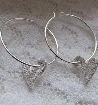 Tilted Heart Hoop Earrings