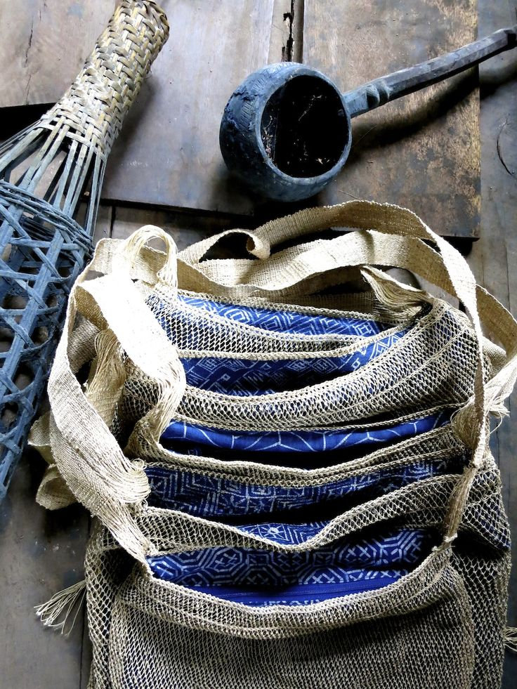 Natural, eco friendly piet bags are lined with indigo dyed cotton