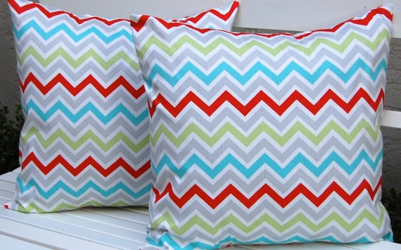 Decorative Pillows Missoni Style Chevron Throw Pillow Covers 20 x 20 Inches - Bright Multicolor on White