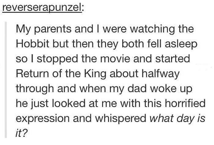 "The Hobbit and Lord of the Rings marathon. tumblr. funny. reverserapunzel ""My parents and I were watching the Hobbit but then they both fell asleep so I stopped the movie and started Return of the King about halfway through and when my dad woke up he just looked at me with this horrified expression and whispered what day is it?"""