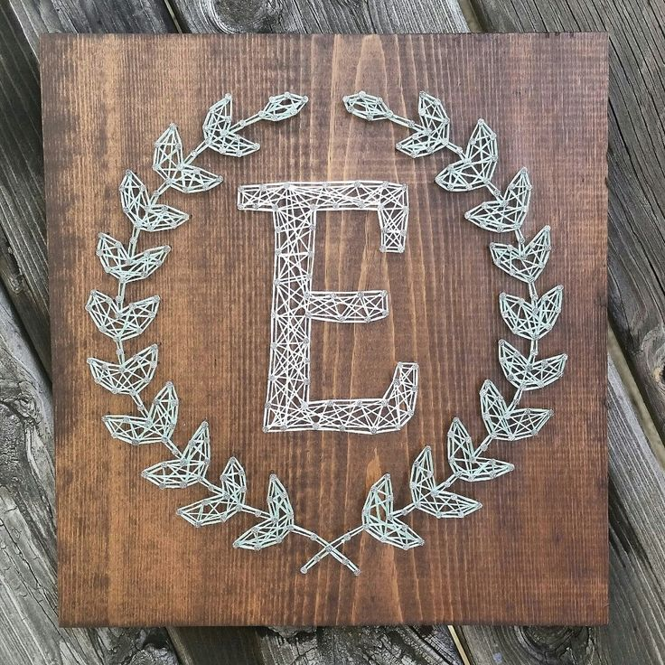 Custom string art laurel leaf monogram sign by Blossomingburlap on etsy