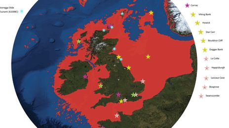 A map of the UK with Doggerland marked as red