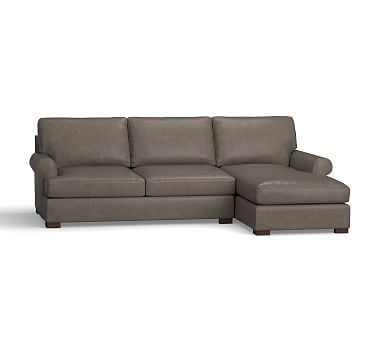 Townsend Roll Arm Leather Left Chaise Sofa Sectional, Polyester Wrapped Cushions, Leather Vintage Graphite