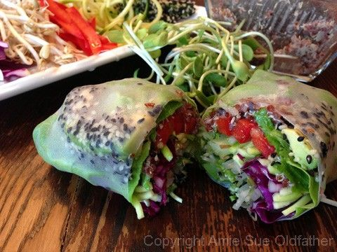 sesame-crusted avocado spring rolls with almond dipping sauce #raw #vegan