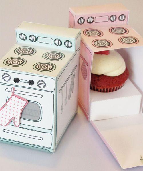 Claudine Hellmuth printable retro oven cupcake box. Ooh.