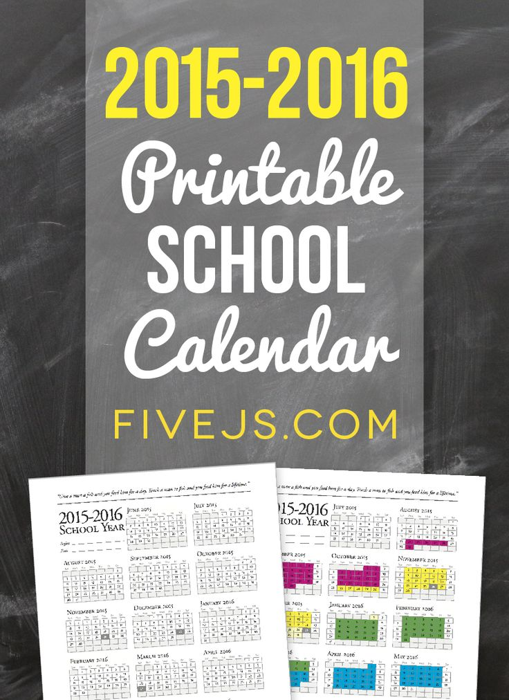 2015-2016 Printable School Calendar from FiveJs.com - I use this every year!